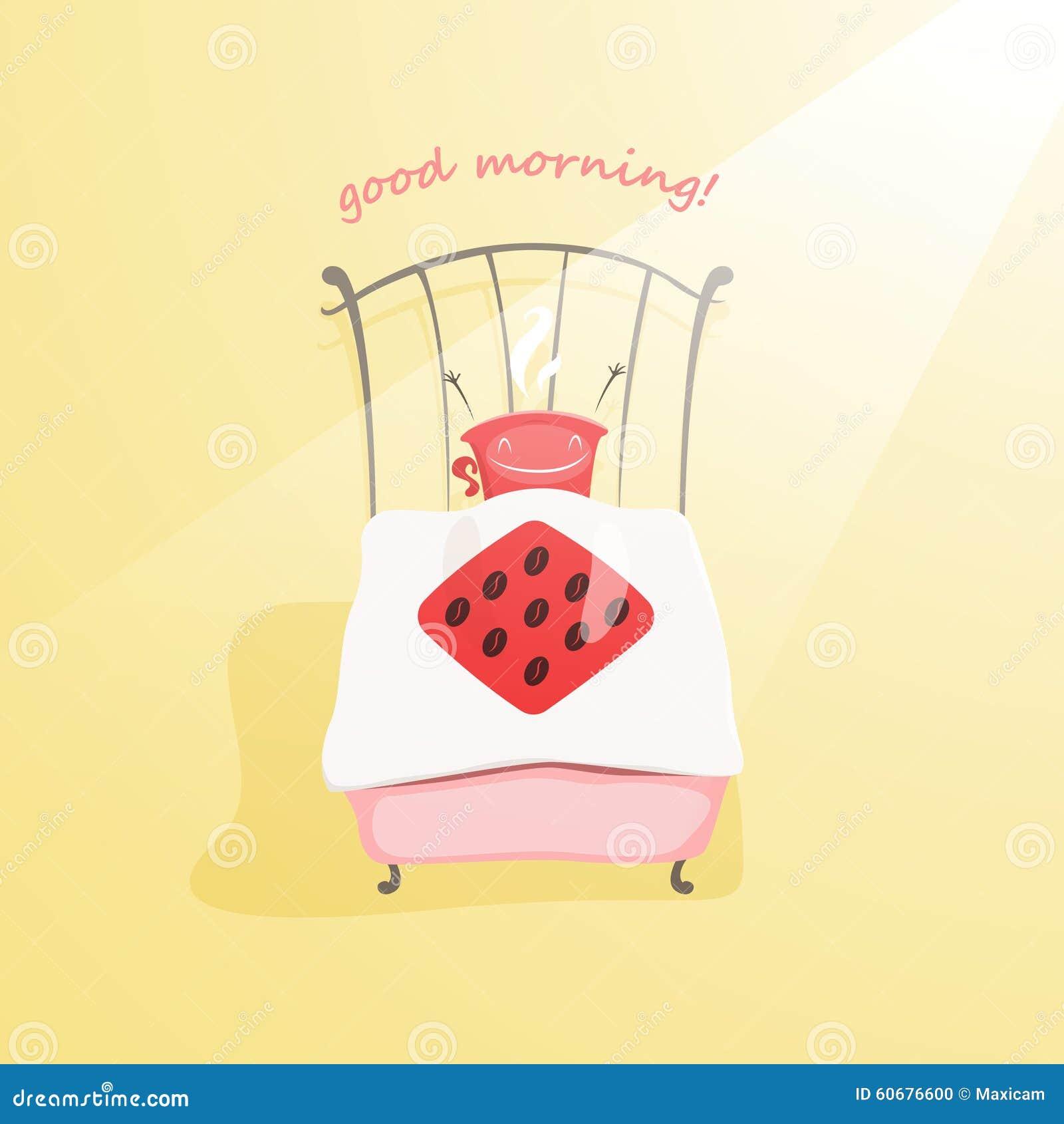 Den gulliga kaffekoppen vaknar upp och önskar dig bra morgon