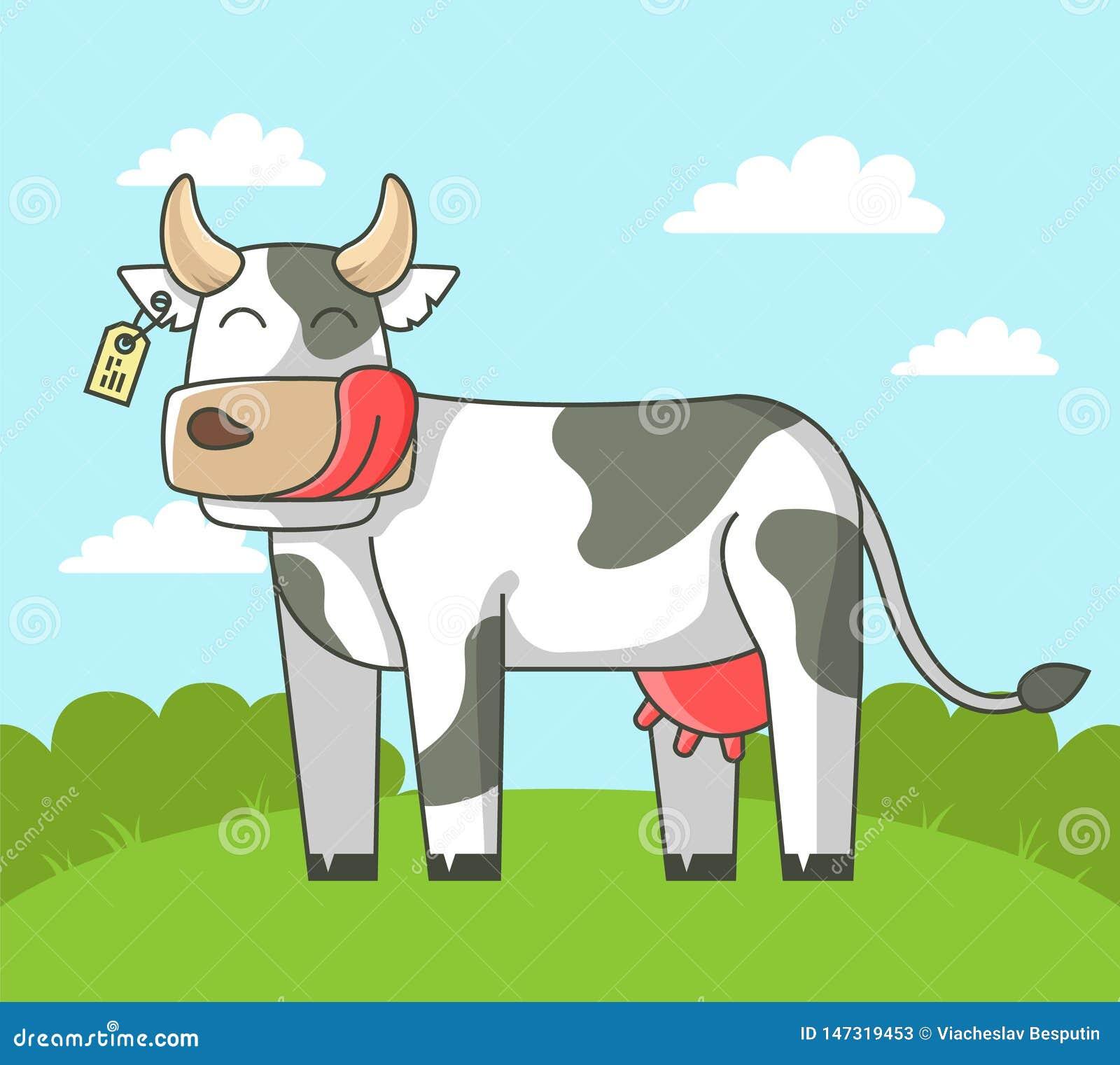 Den gulliga kon står på fältet i byn