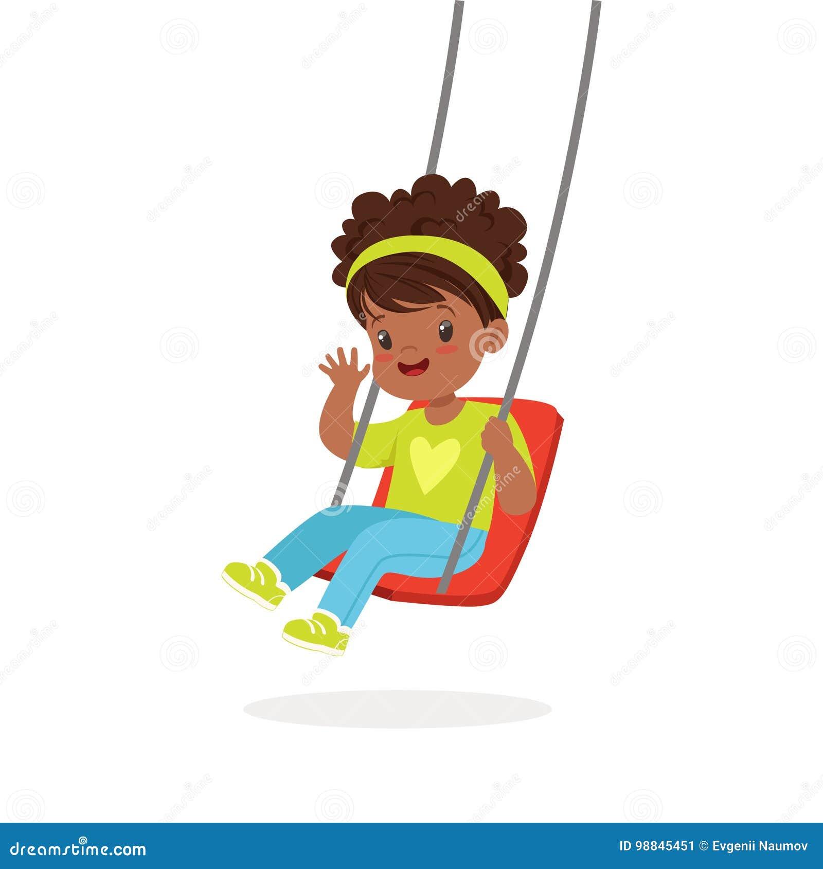 Den gulliga lilla flickan som spelar gunga, unge har en gyckel på en illustration för lekplatstecknad filmvektor