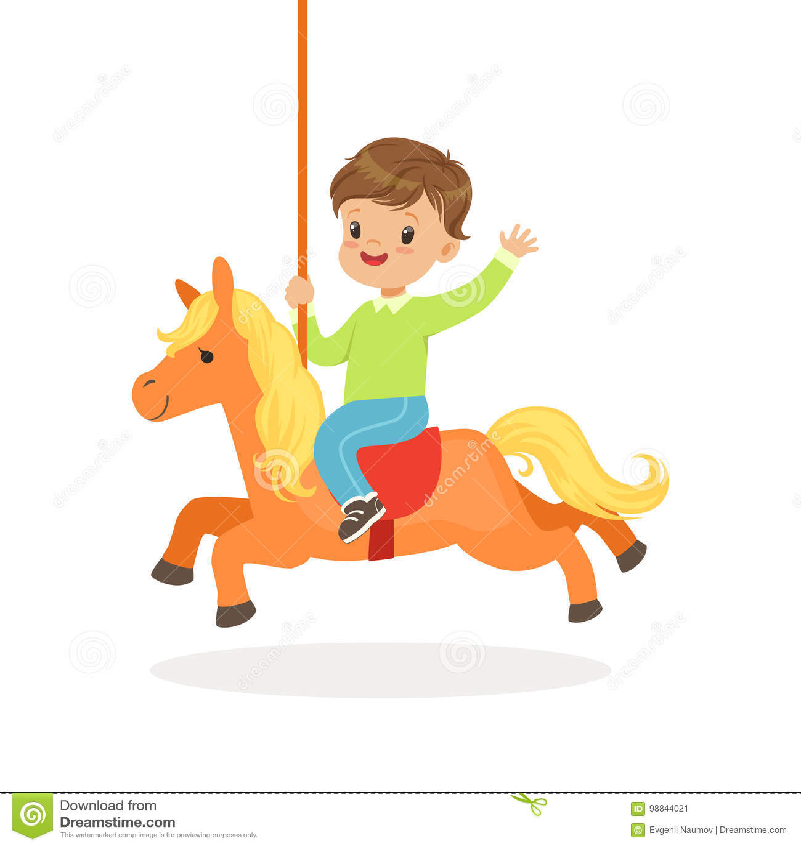Den gulliga pysridningen på karusellhästen, unge har en gyckel i illustration för nöjesfälttecknad filmvektor