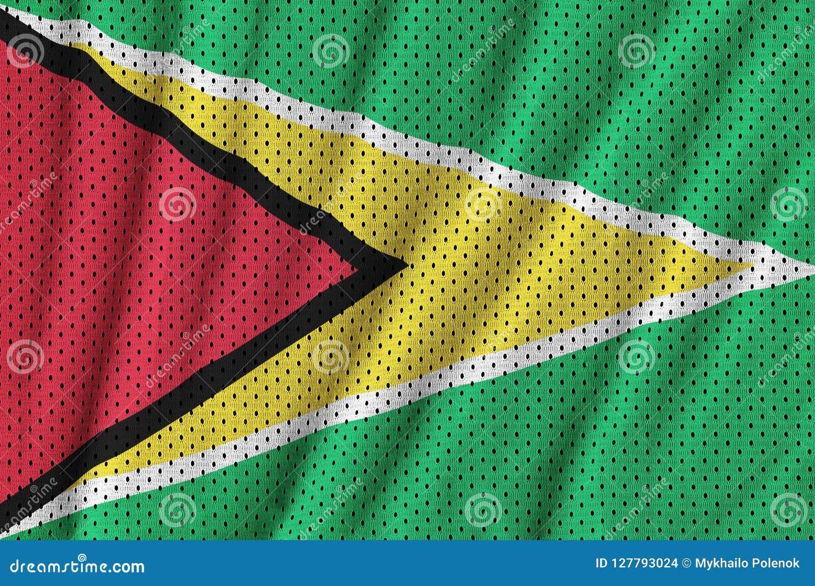 Den Guyana flaggan skrivev ut på ett tyg för ingrepp för polyesternylonsportswear
