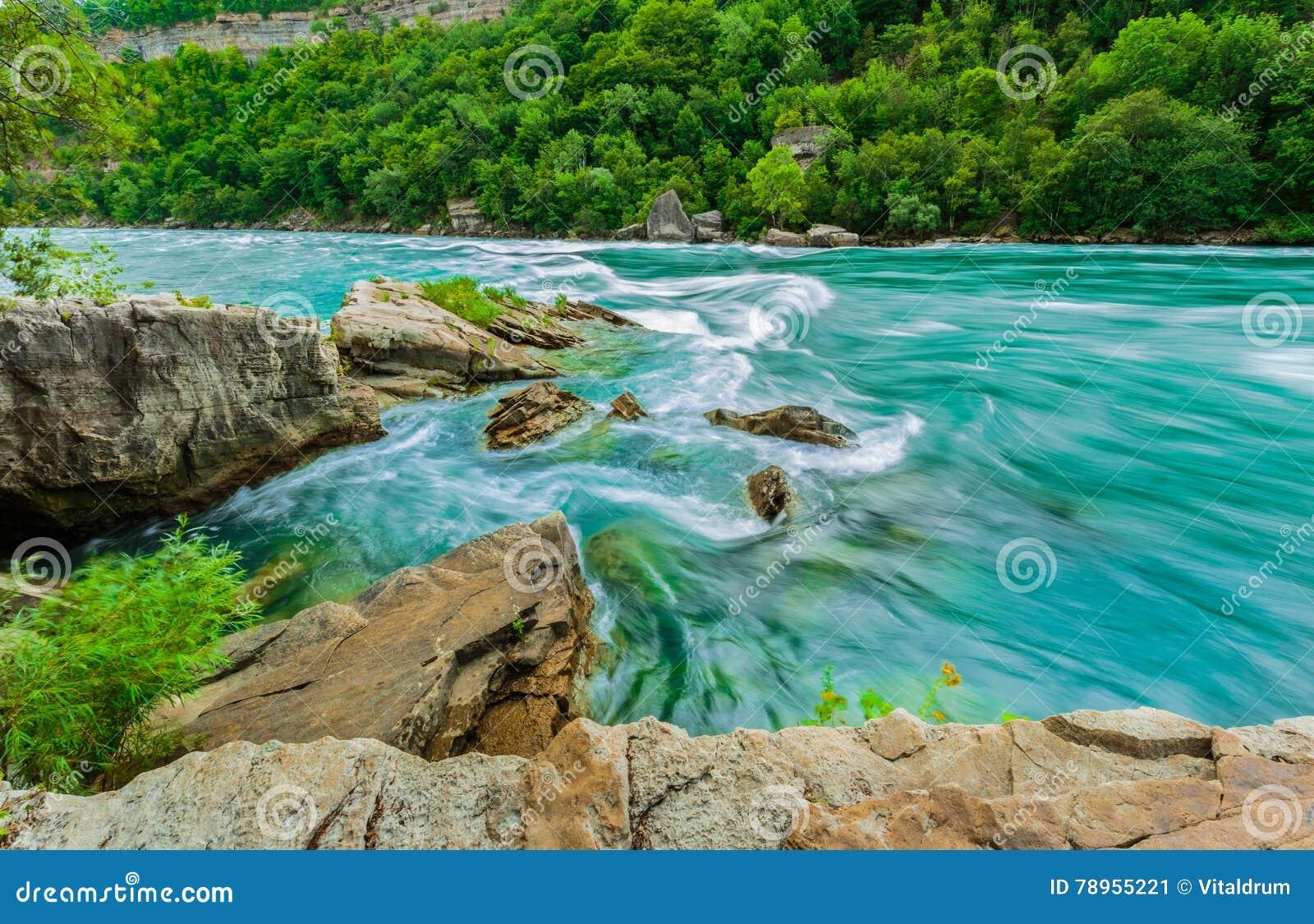 Den härliga fantastiska ursnygga sikten av den Niagara Falls floden med flödet av vatten ändrar plötsligt riktning
