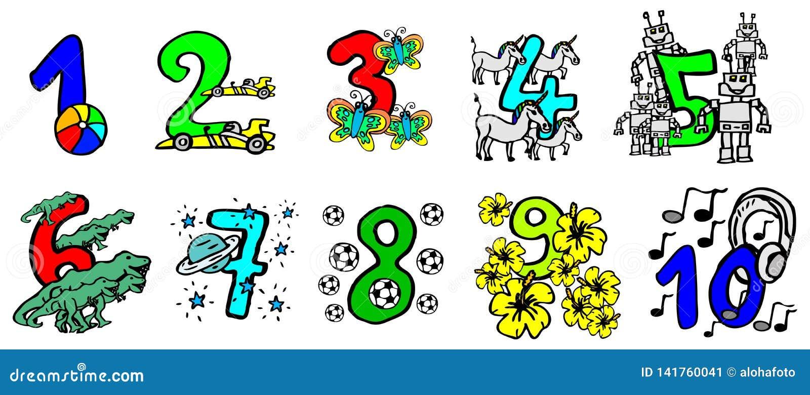 Den härliga handen målade färgrika nummer för ungar med lyckliga bilder och vänliga djur för att lära numren och för födelsedag