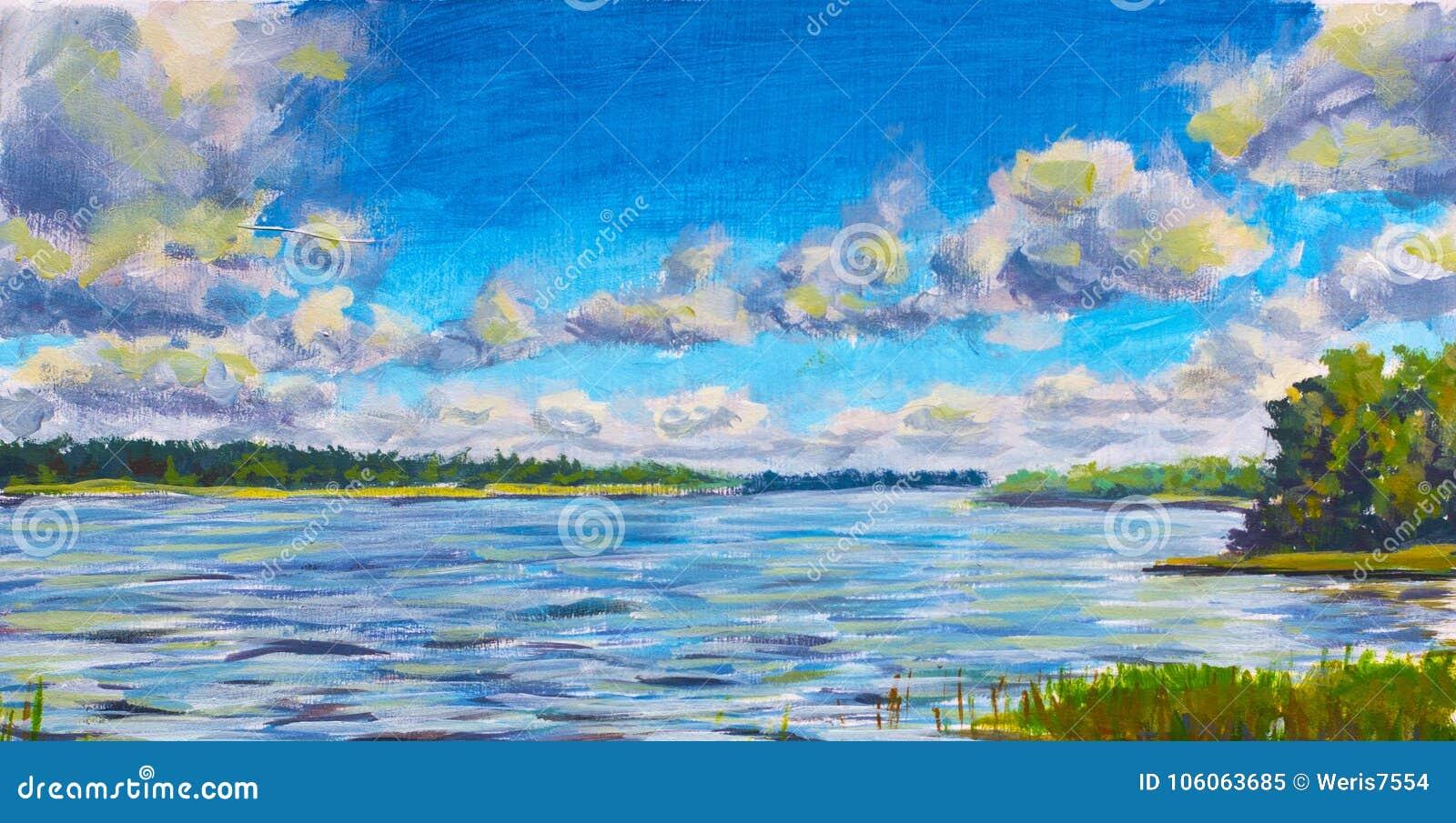 Den härliga purpurfärgade floden, stora moln mot blå himmel, Green River packar ihop, original- olje- målning för den ryska sjön