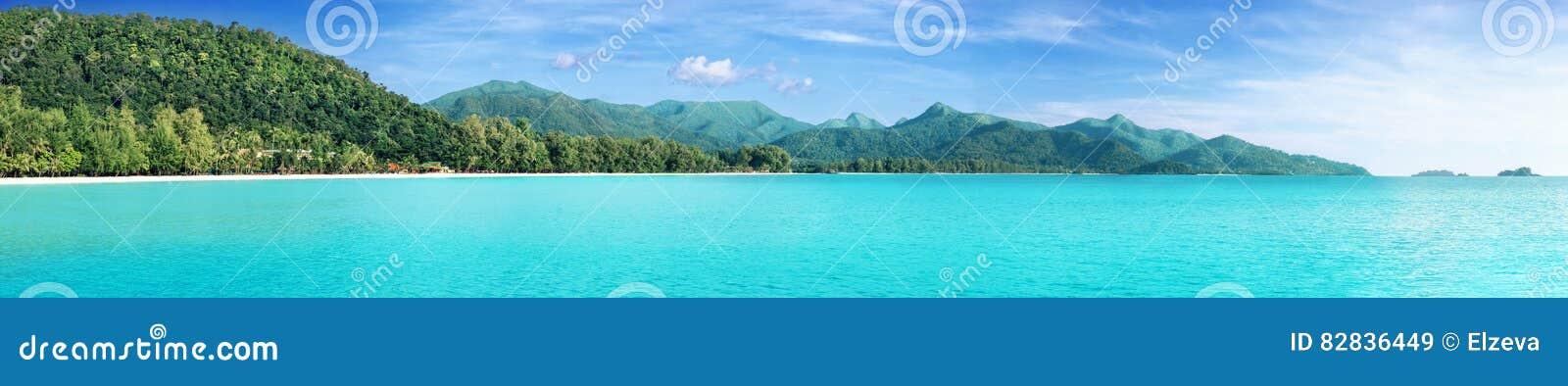 Den härliga tropiska Thailand ön som är panorama- med stranden, det vita havet och kokosnöten, gömma i handflatan