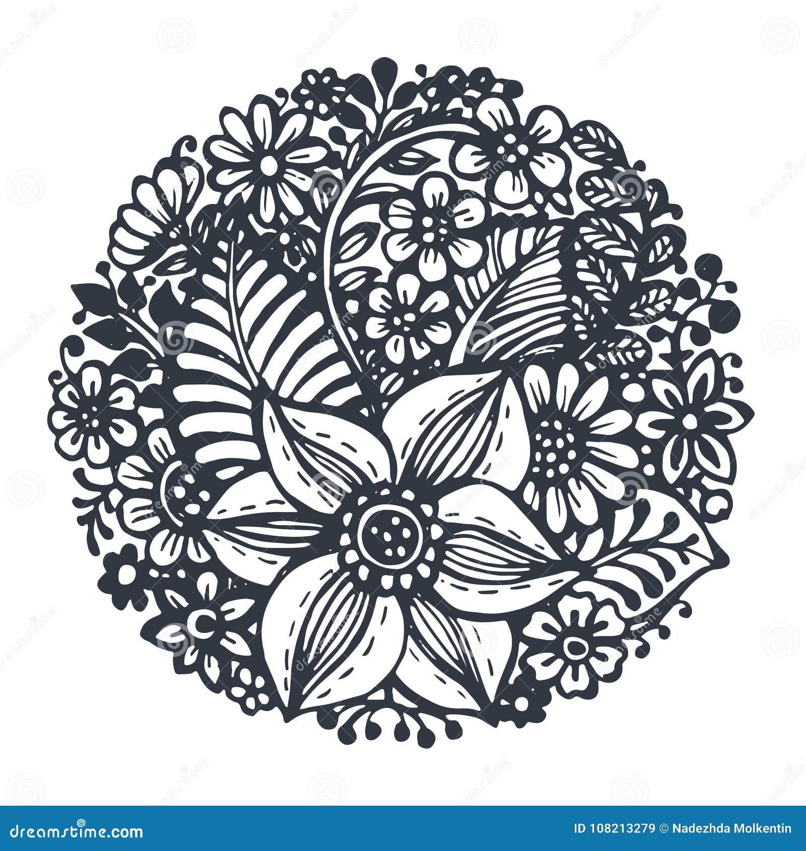 Den härliga vektorn blommar och växter i cirkeln