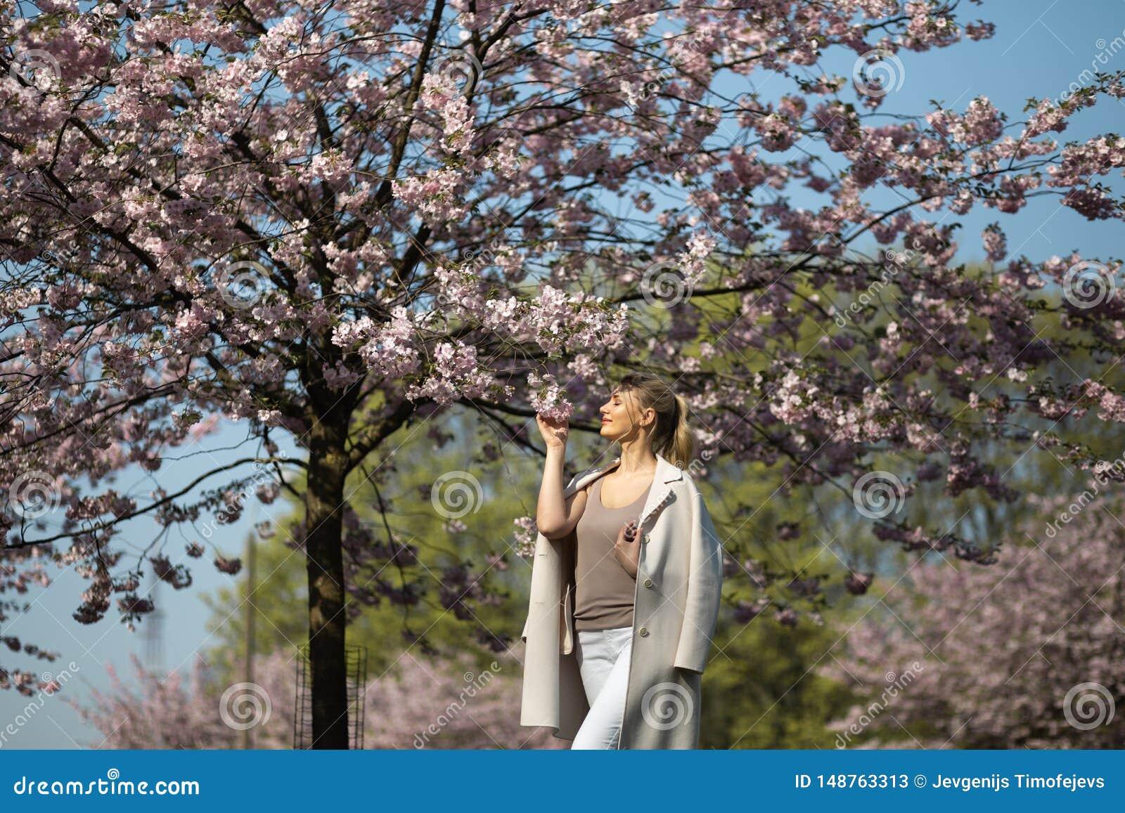 Den h?rliga blonda unga kvinnan i Sakura Cherry Blossom parkerar i v?r som tycker om naturen och fri tid under hennes resande