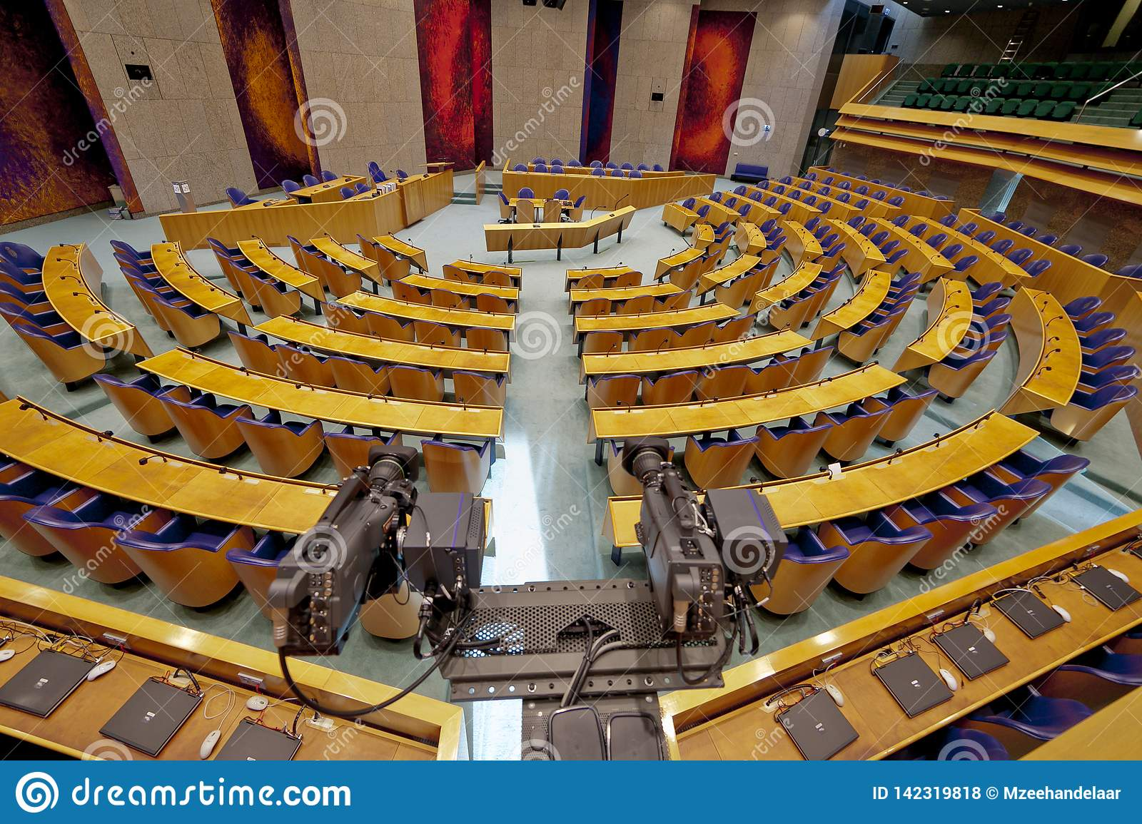 Den Haag, The Netherlands - August 29, 2012: Interior of the empty plenary hall of the House of Representatives