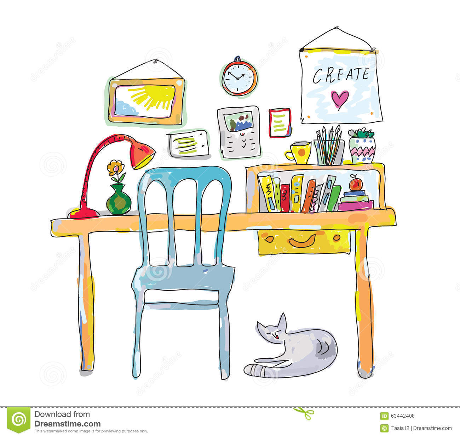 Den hem- arbetsplatsen för formgivare skissar
