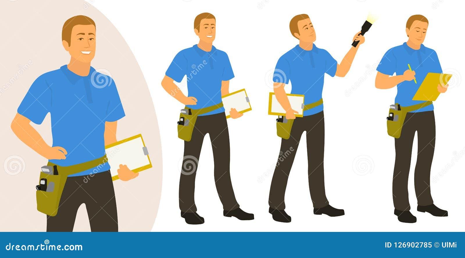 Den hem- inspektörmannen poserar uppsättningen för infographics eller annonsering
