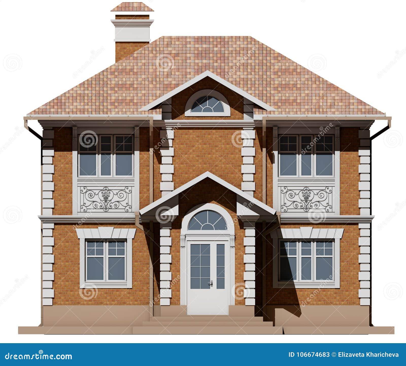 Den huvudsakliga fasaden av tegelstenstugan är symmetrin framförande 3d