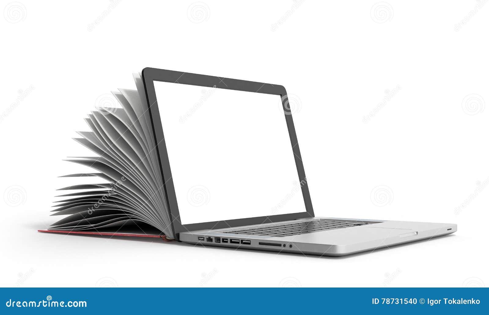 Den idérika E-lärande begreppsboken och bärbara datorn 3d framför på vit