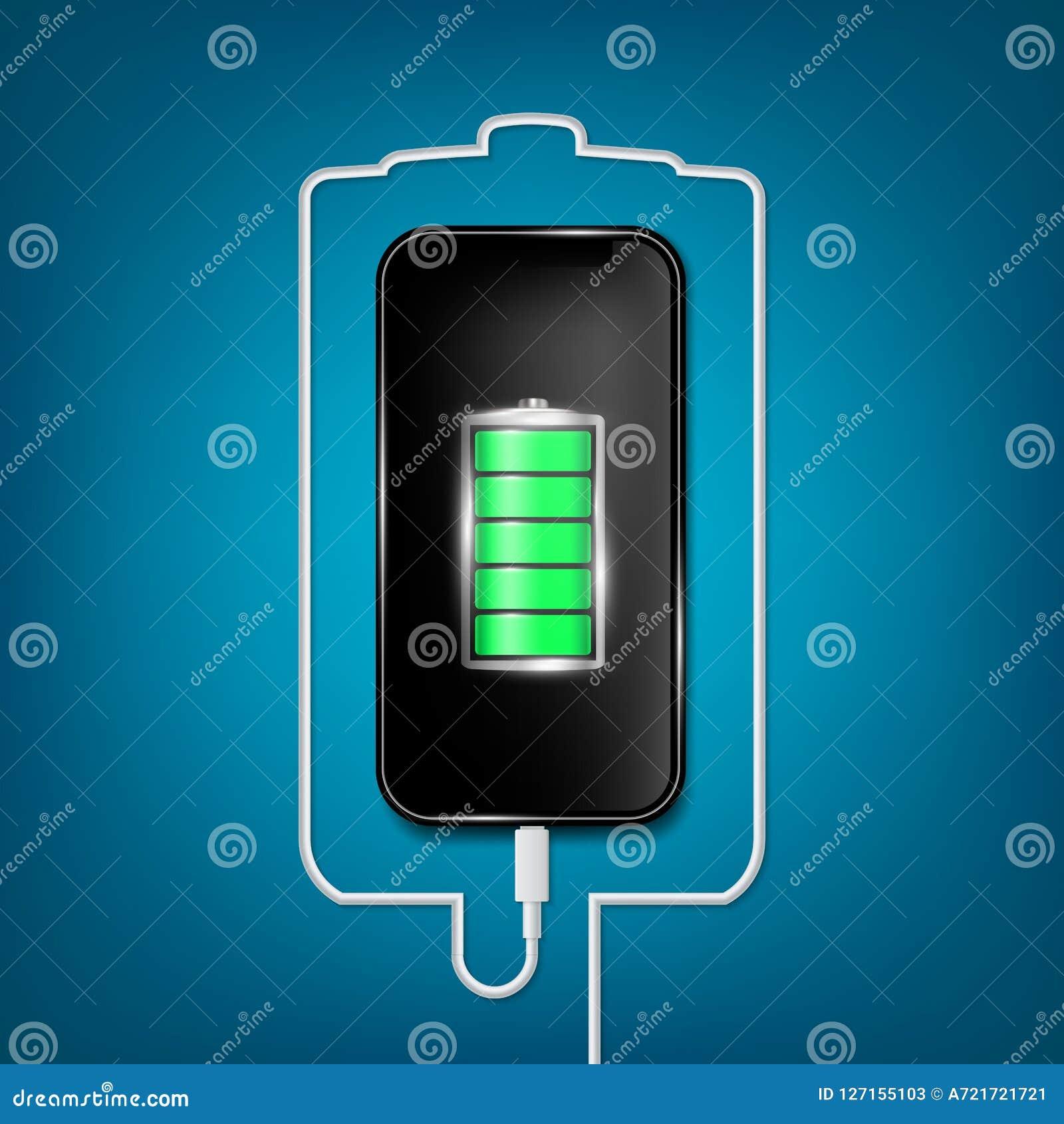 Den idérika vektorillustrationen av den fulla laddade batterismartphonen med mobiltelefonusb pluggar kabel som isoleras på bakgru