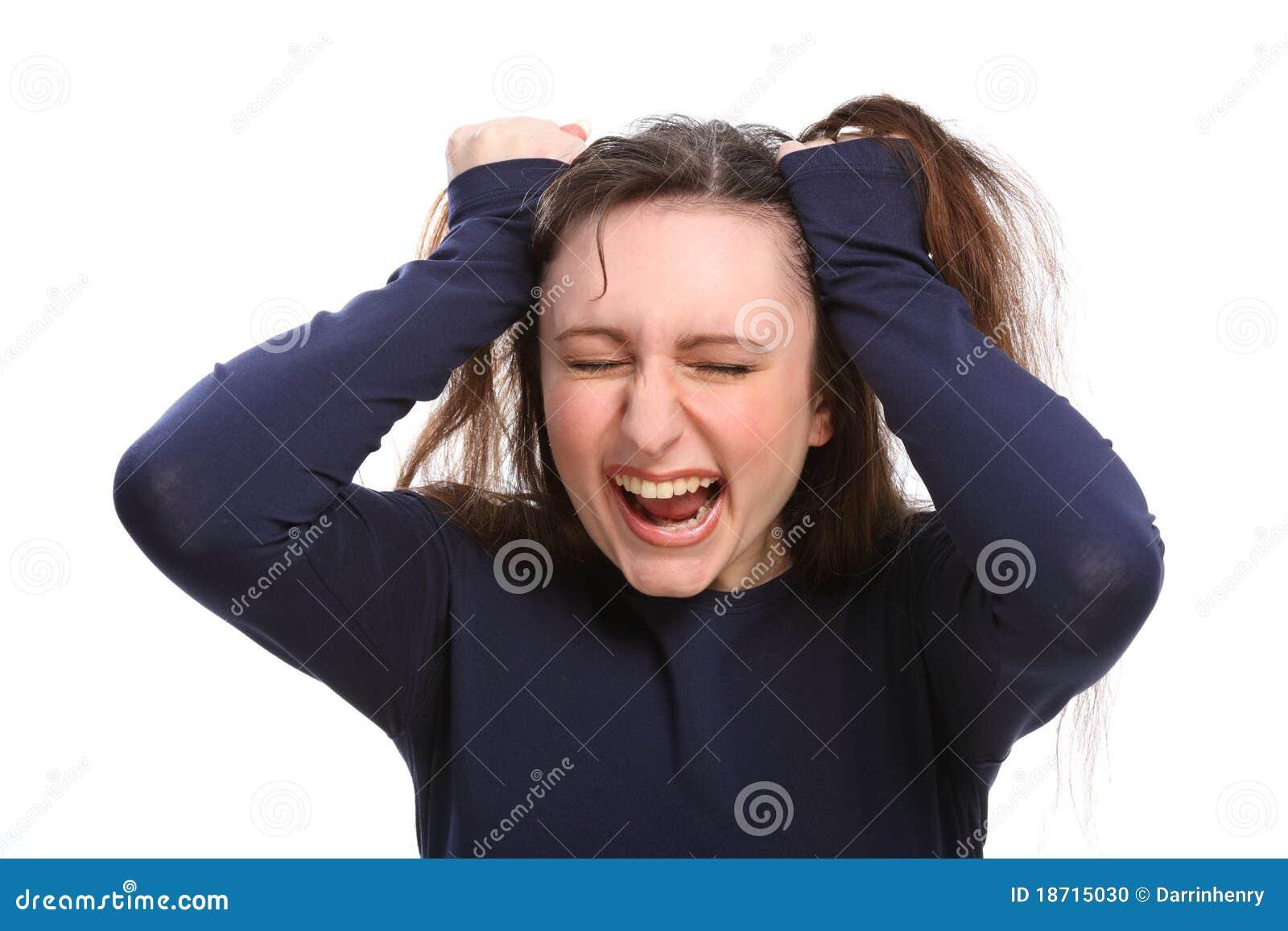 Den ilskna dåliga dagen frustrerade hår som har kvinnabarn