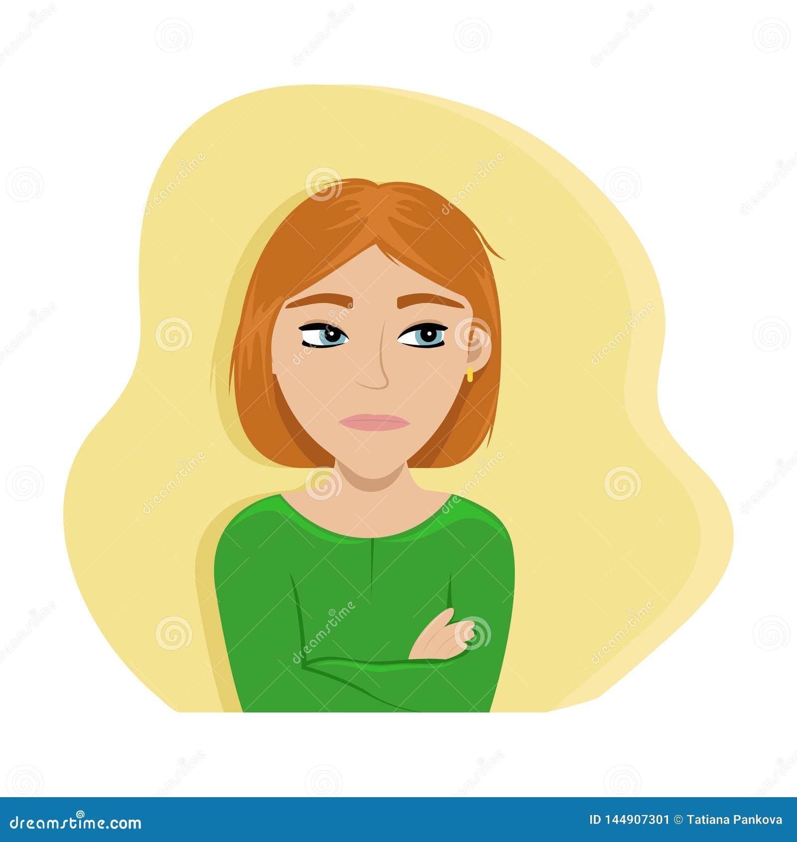 Den ilskna flickan korsade hennes armar Plan vektorillustration sinnesr?relser