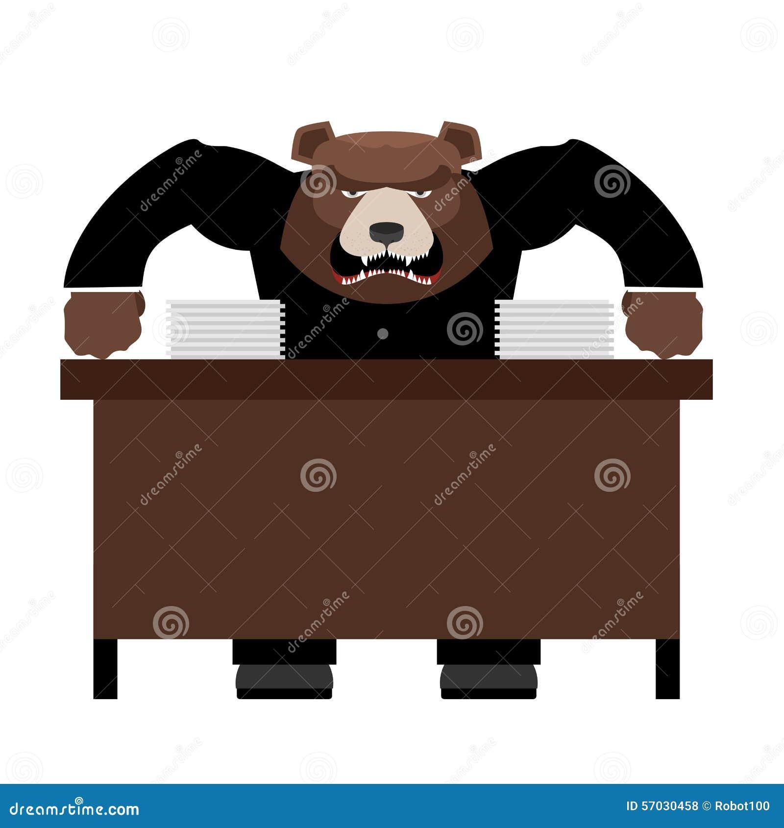 Den ilskna framstickandebjörnen grälar på Ont head skrika på personalen Vektor dåligt