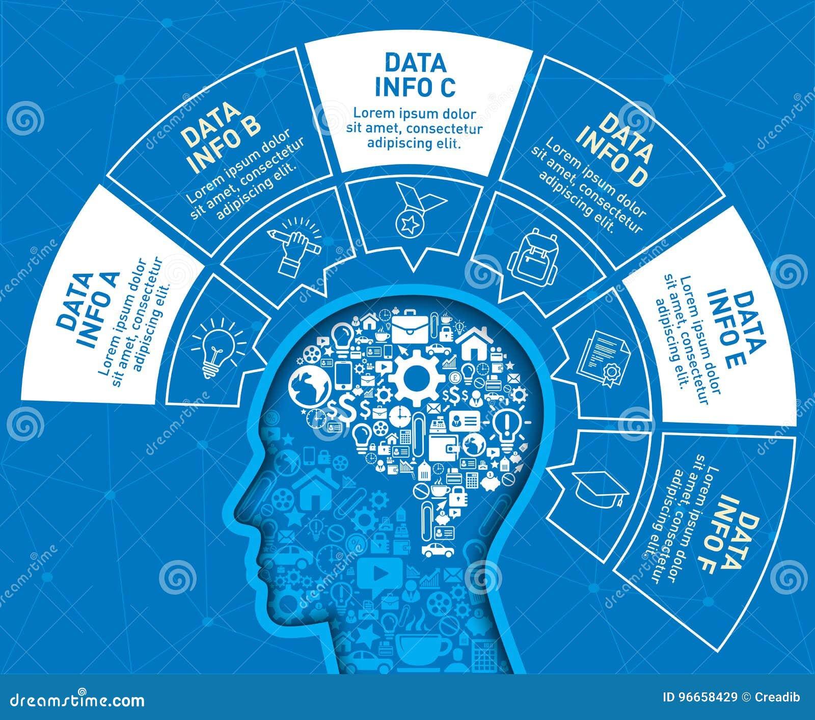Den Infographic designmallen med huvudet fylls av en liten symbolsbeståndsdel