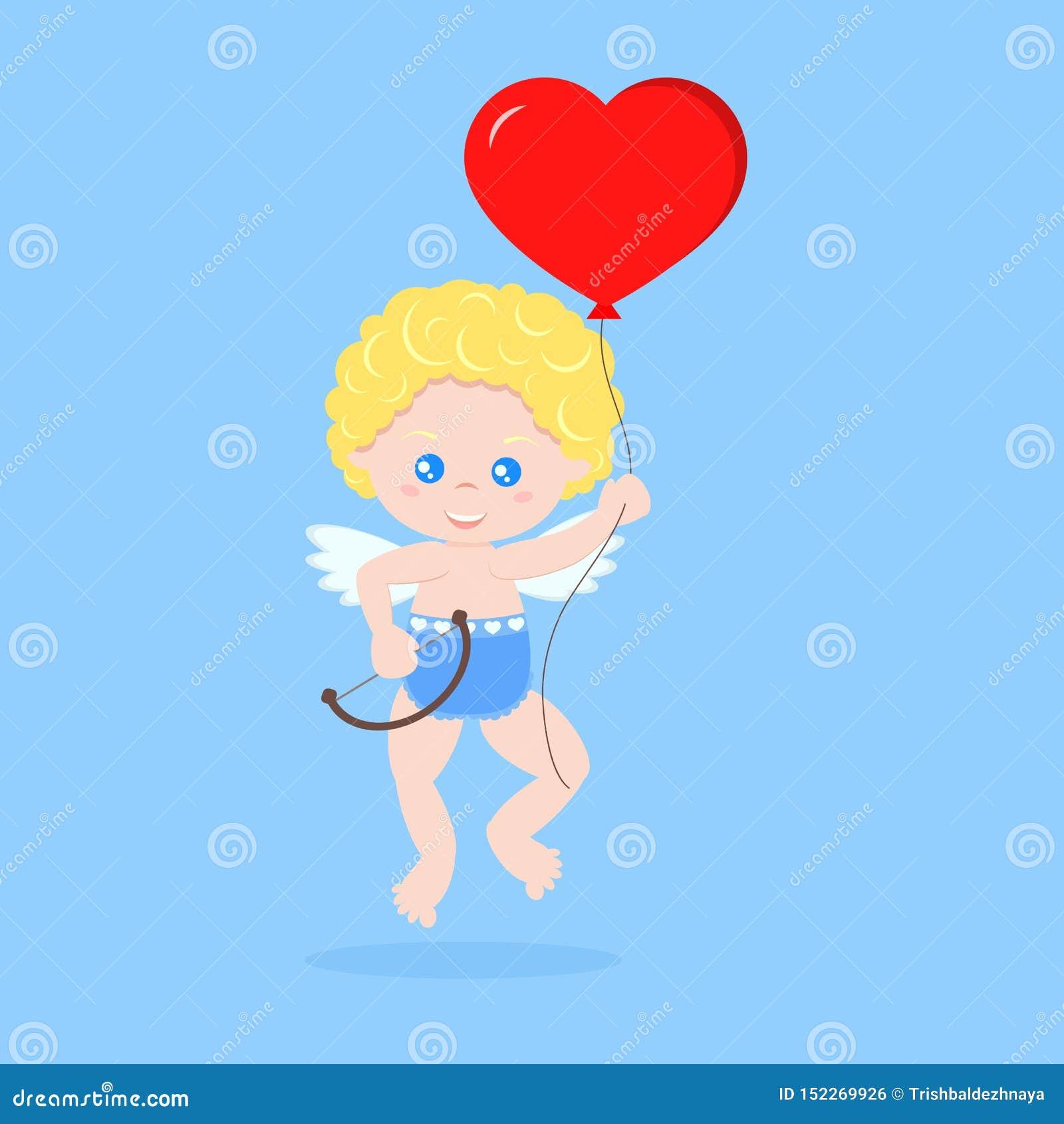 Den isolerade gulliga kupidonet i sväva poserar med pilbågen och röd hjärtaformballon