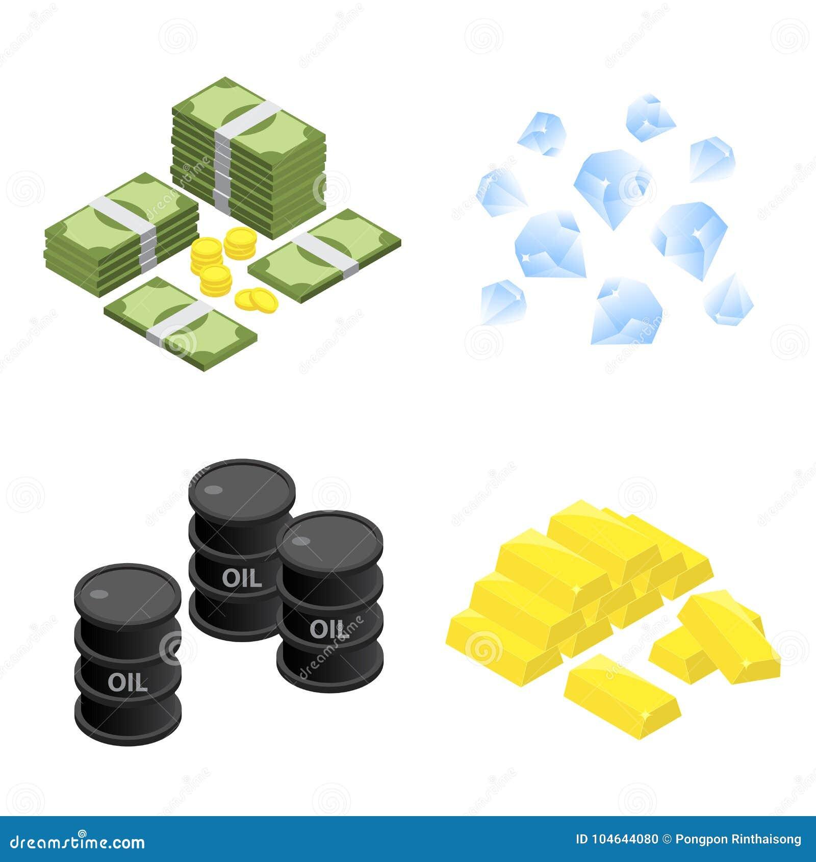 Den isometriska högen av pengar, diamanten, olja och den guld- stången sänker vektorsymbolen