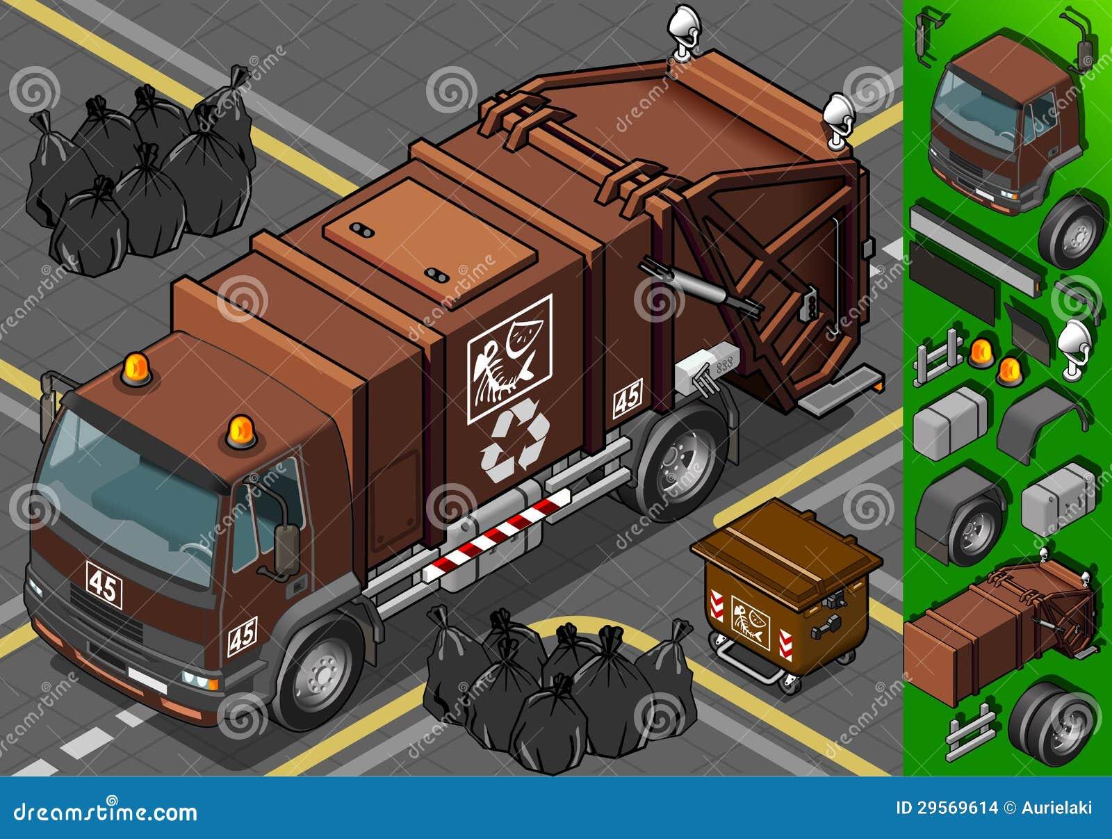 Den isometriska humid förlorada avskrädet åker lastbil