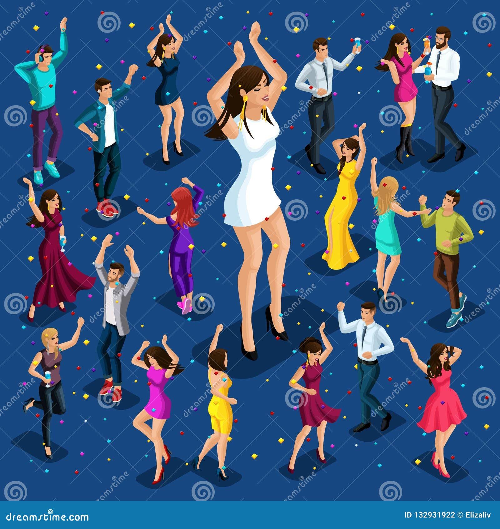 Den isometriska illustrationen av ferien, män och kvinnor har gyckel på ett parti i en nattklubb, firar och har gyckel, stora dan