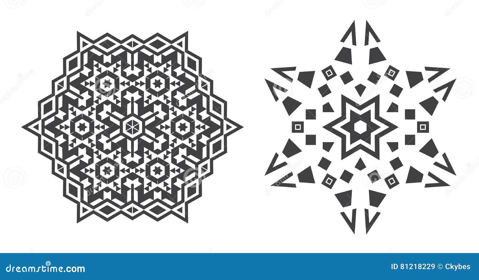 Den Israel Jew Ethnic Fractal Mandala vektorn ser som snöflingan eller