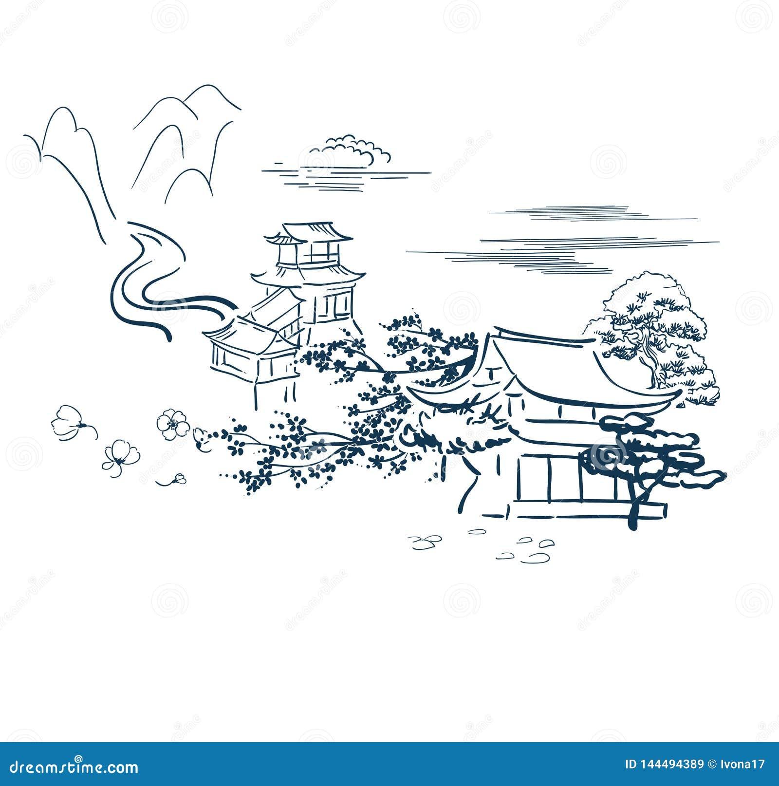 Den japanska bevekelsegrundsymbolvektorn skissar den traditionella korttemplet