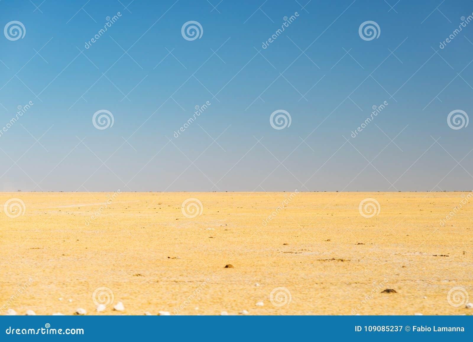 Den Kalahari öknen, saltar framlänges, inget var, den tomma slätten, klar himmel, vägtur i Botswana, loppdestination i Afrika