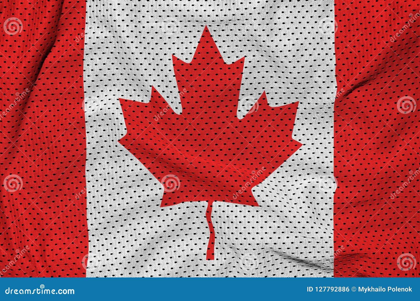Den Kanada flaggan skrivev ut på ett tyg för ingrepp för polyesternylonsportswear