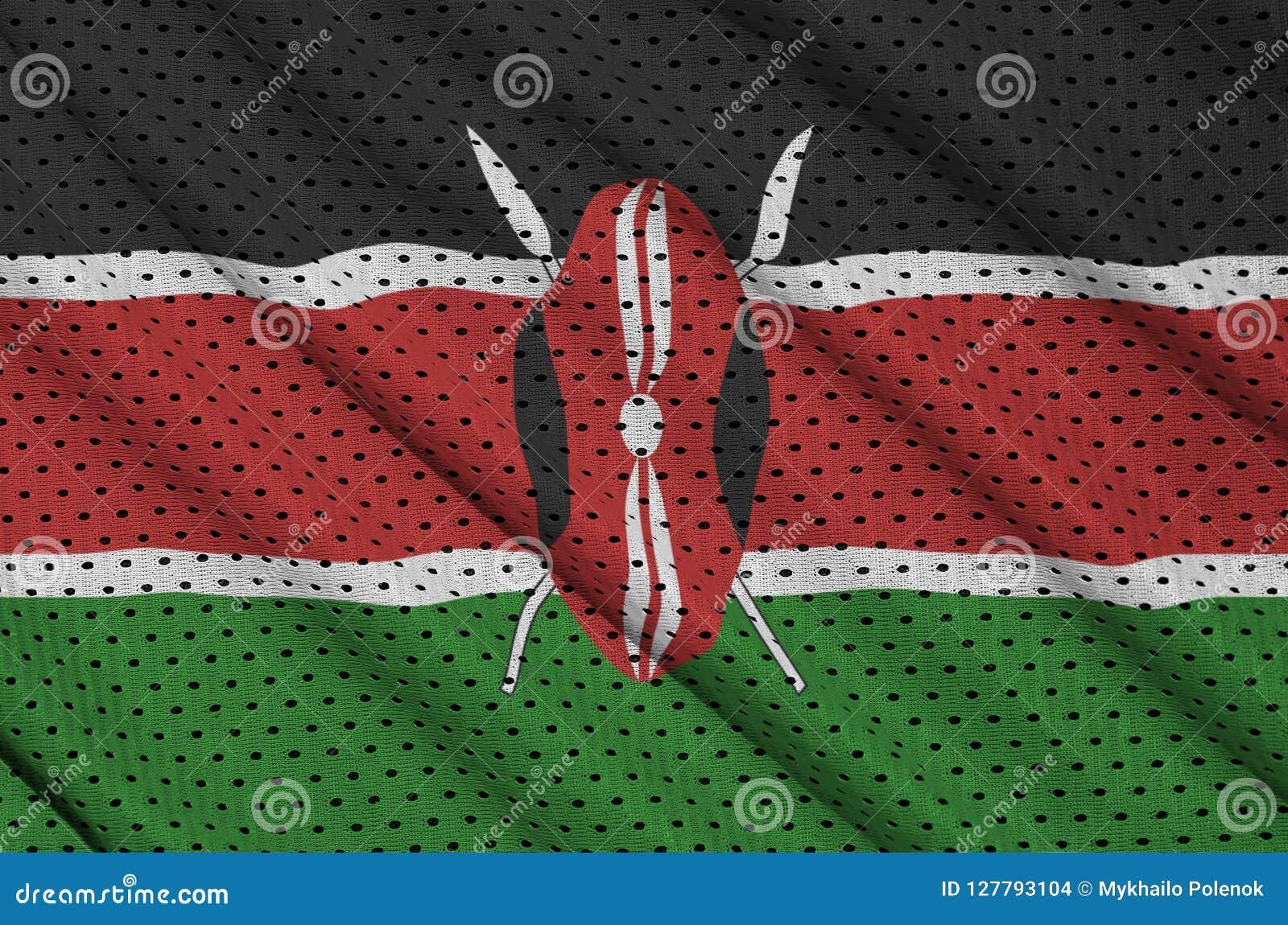 Den Kenya flaggan skrivev ut på ett tyg för ingrepp för polyesternylonsportswear w
