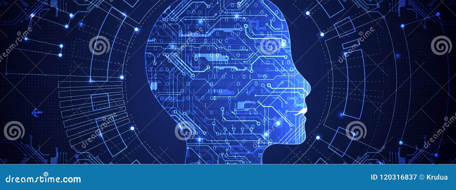 Den konstgjorda hjärnan circuits mainboard för elektronisk intelligens för begrepp över teknologi för planet för telefon för jord