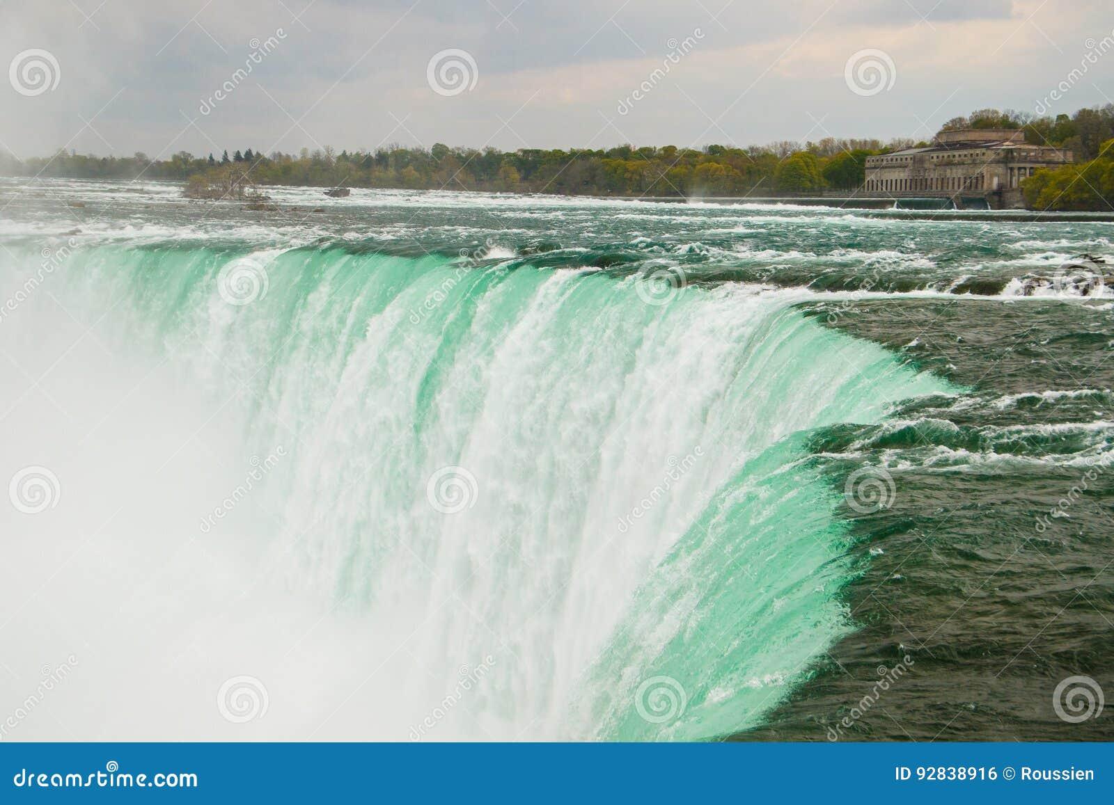 Den kraftiga vattenströmmen i Niagara Falls, Kanada