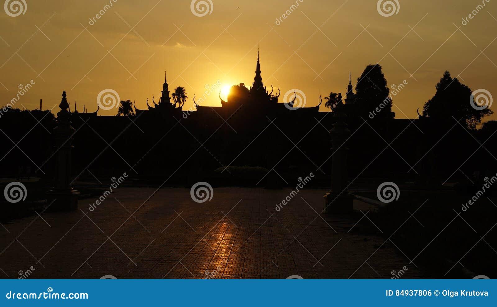 Den kungliga slotten i Phnom Penh, Cambodja