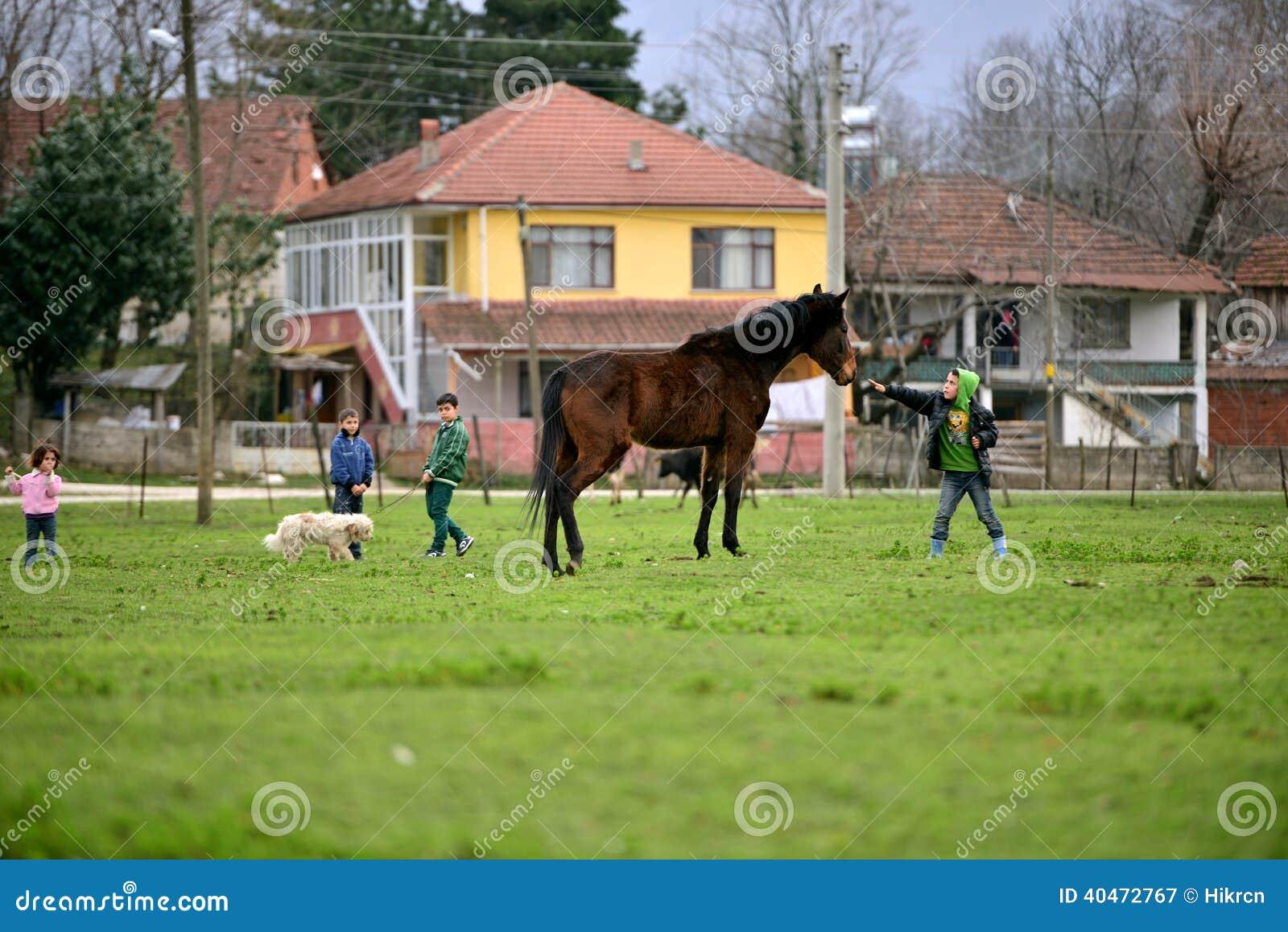 In den ländlichen Gebieten Kinder, die Tiere lieben