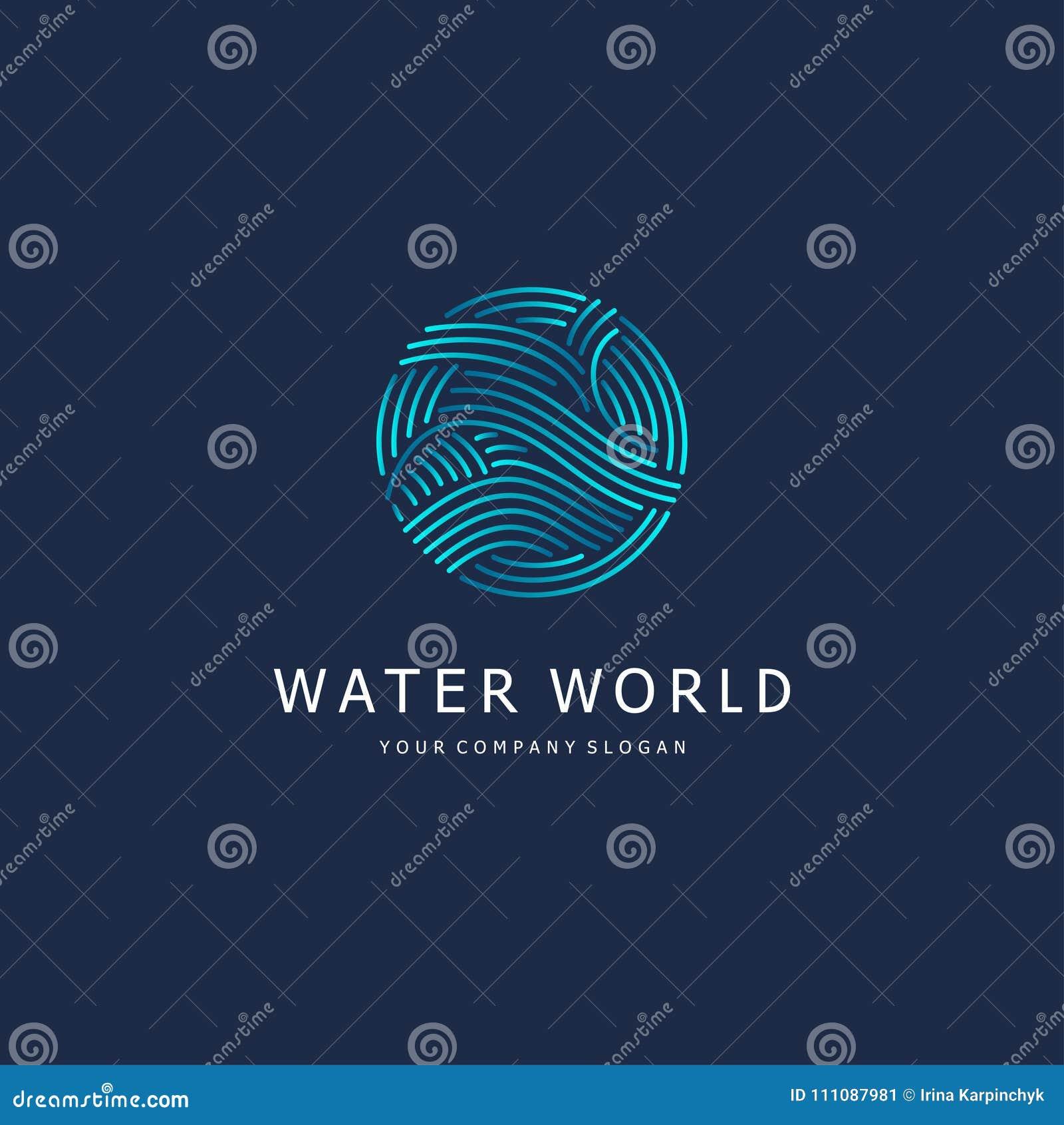 Den lätta designen redigerar elementet till vektorn Vattentecken Cirkel med vågor