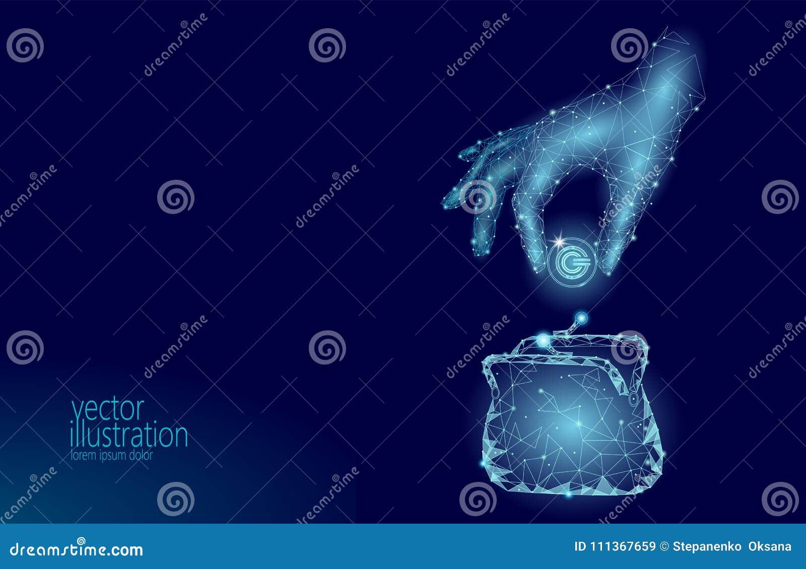 Den låga poly handen sätter plånboken för GCC-myntcryptocurrencyen Teknologi för bankrörelsen framtida e-kommers digital för inte