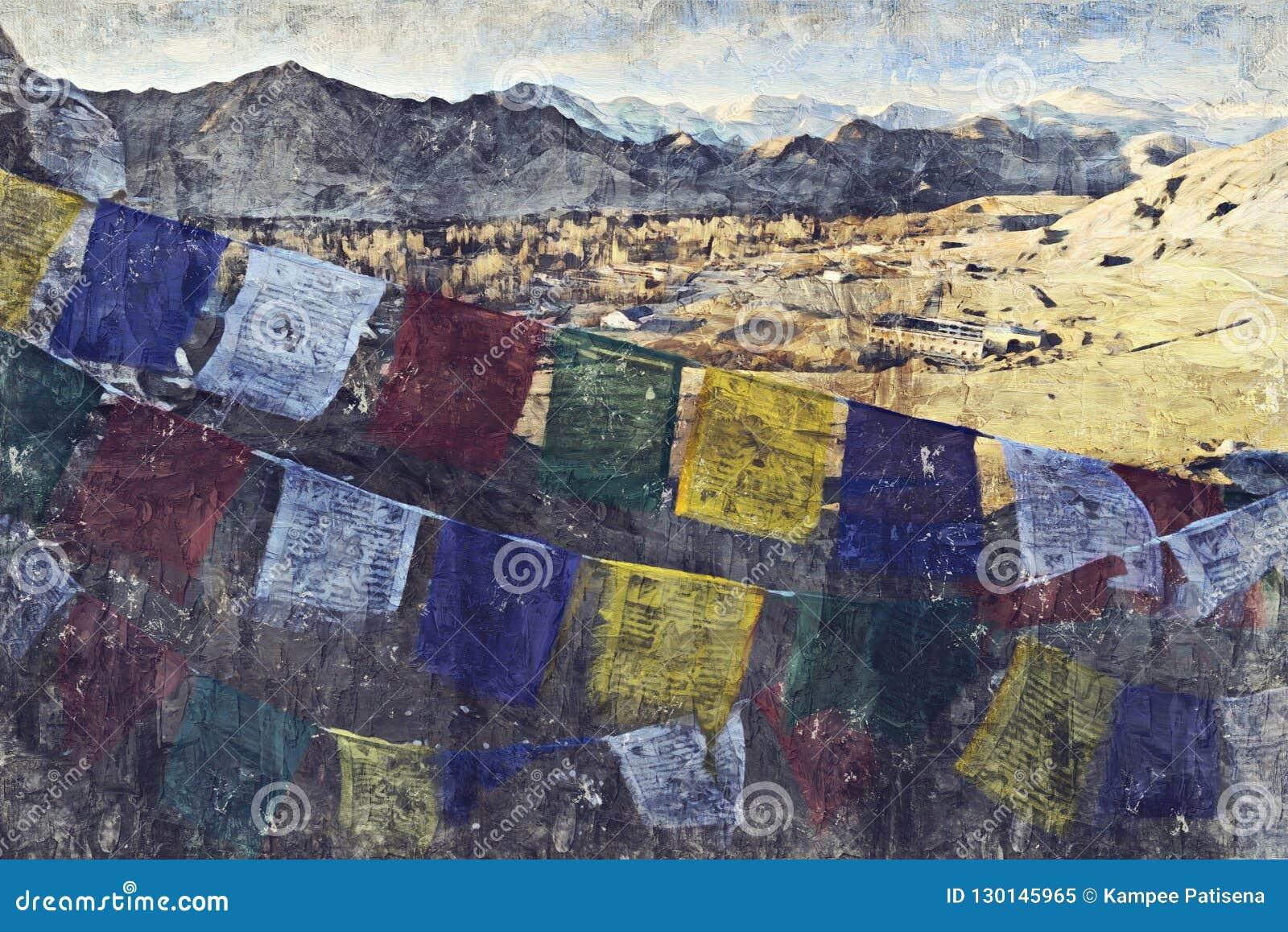 Den Leh staden lokaliseras i de indiska himalayasna på en höjd av 35