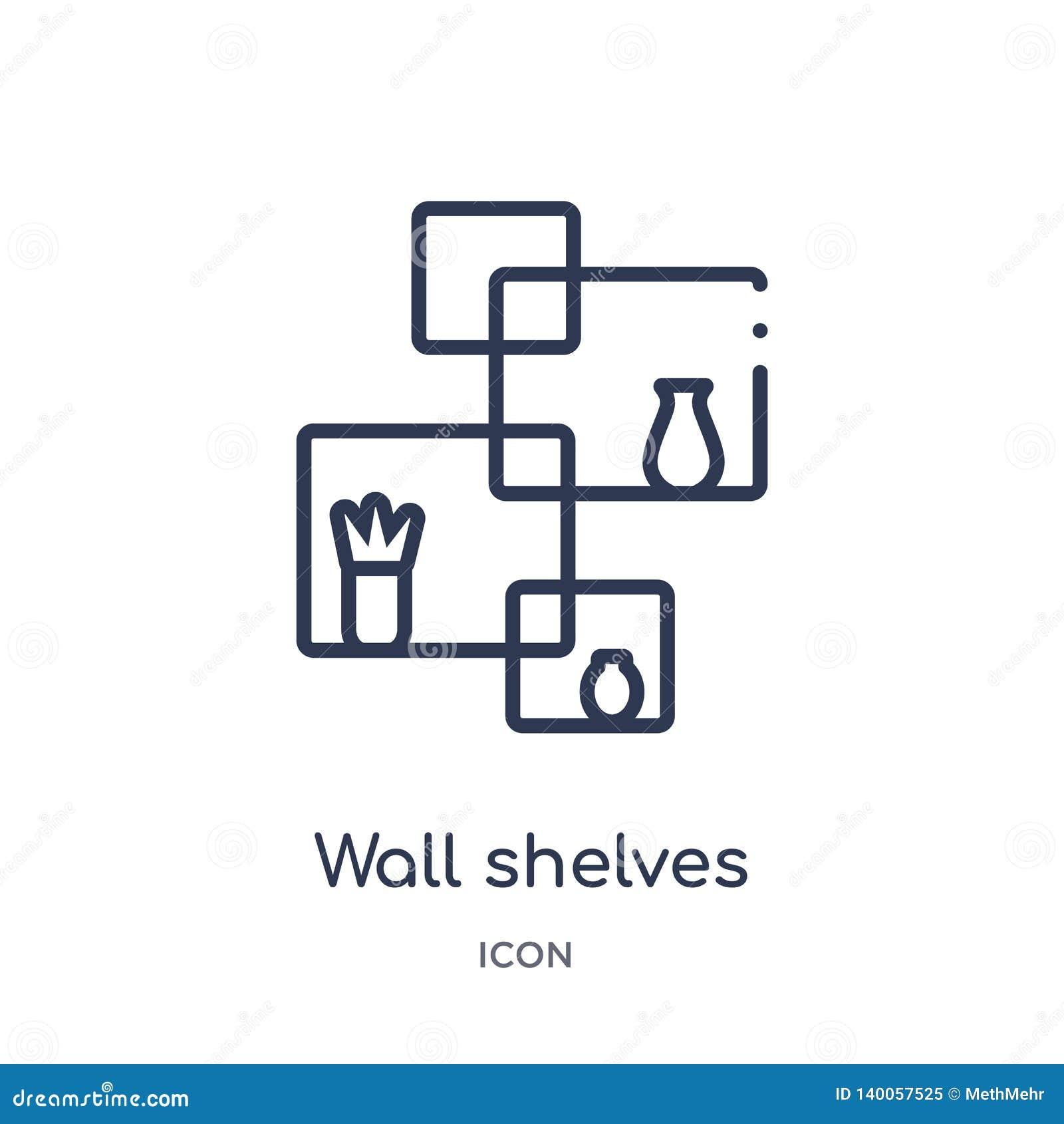 Den linjära väggen bordlägger symbolen från möblemang- och hushållöversiktssamling Tunn linje vägghyllasymbol som isoleras på vit