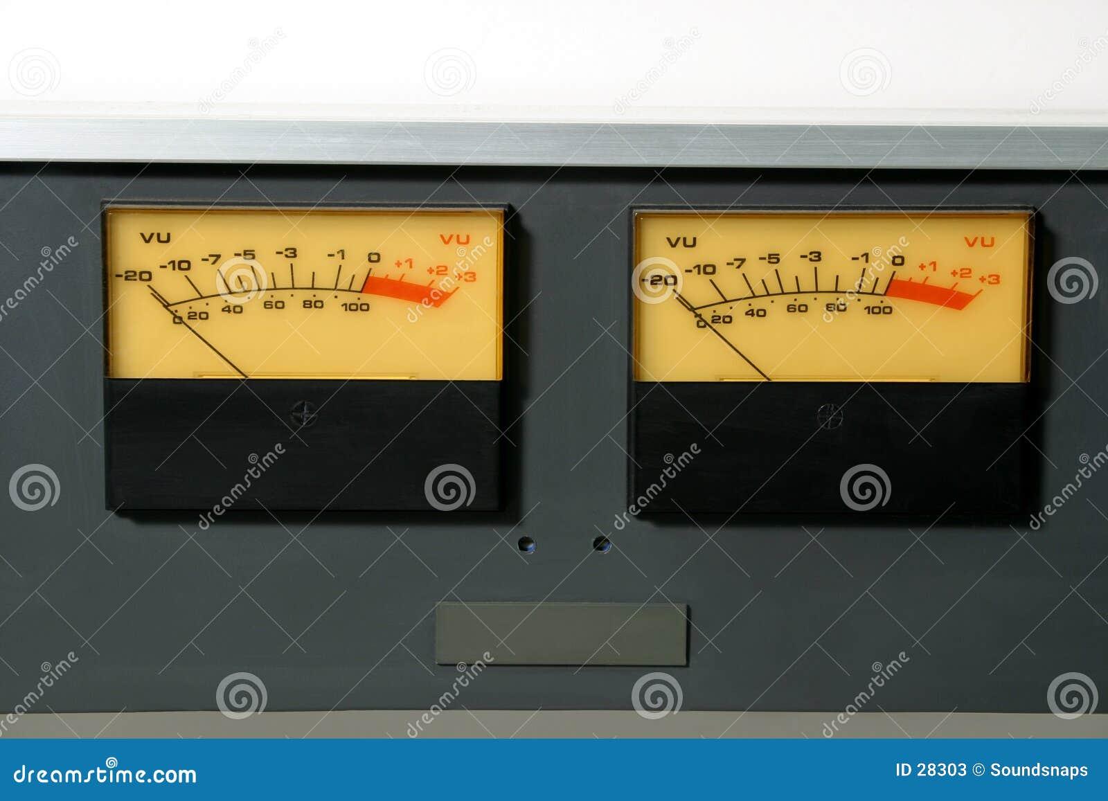 Den ljudsignal nivån meters stereo