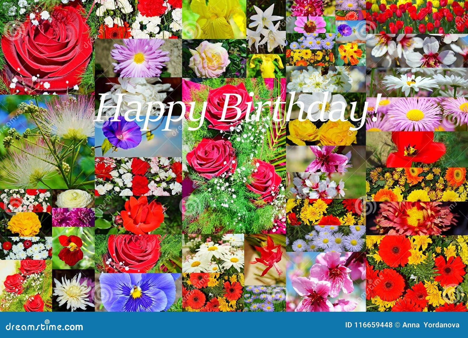 Den lyckliga födelsedagen blommar collagevykortet
