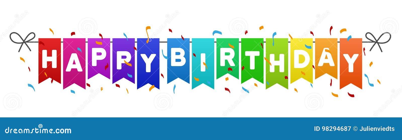 Den lyckliga födelsedagen sjunker banret