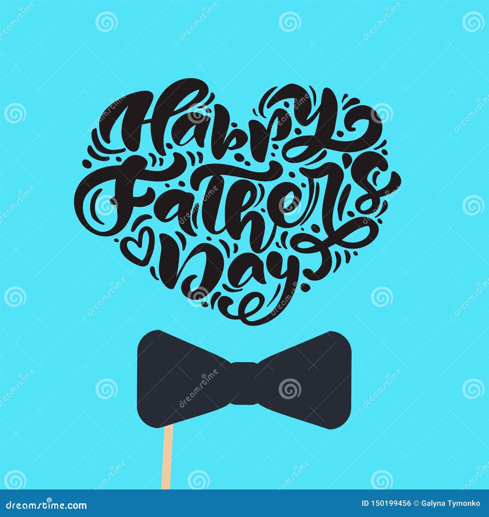 Den lyckliga faderdagen isolerade vektorn som märker calligraphic text i form av hjärta med bandet Utdragen fader Day för hand