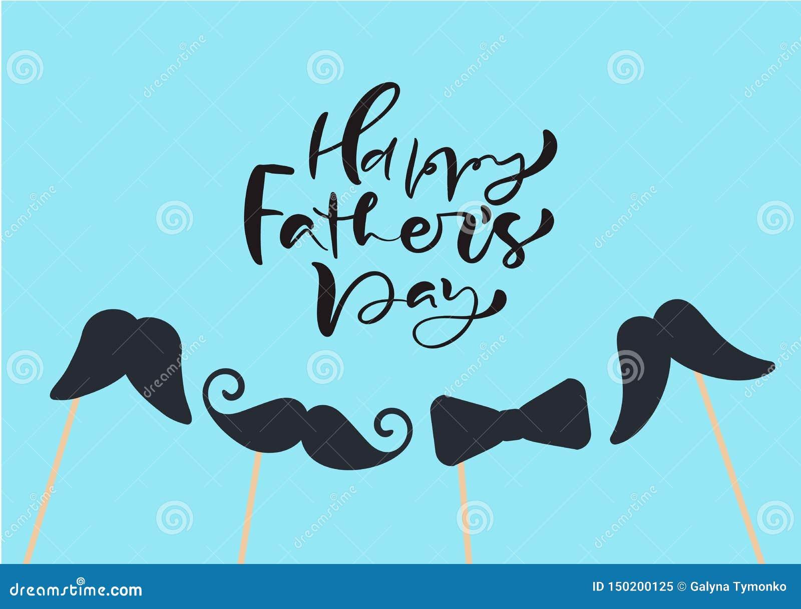 Den lyckliga faderdagen isolerade vektorn som märker calligraphic text med mustascher och bandet FaderDay för hand utdragen kalli