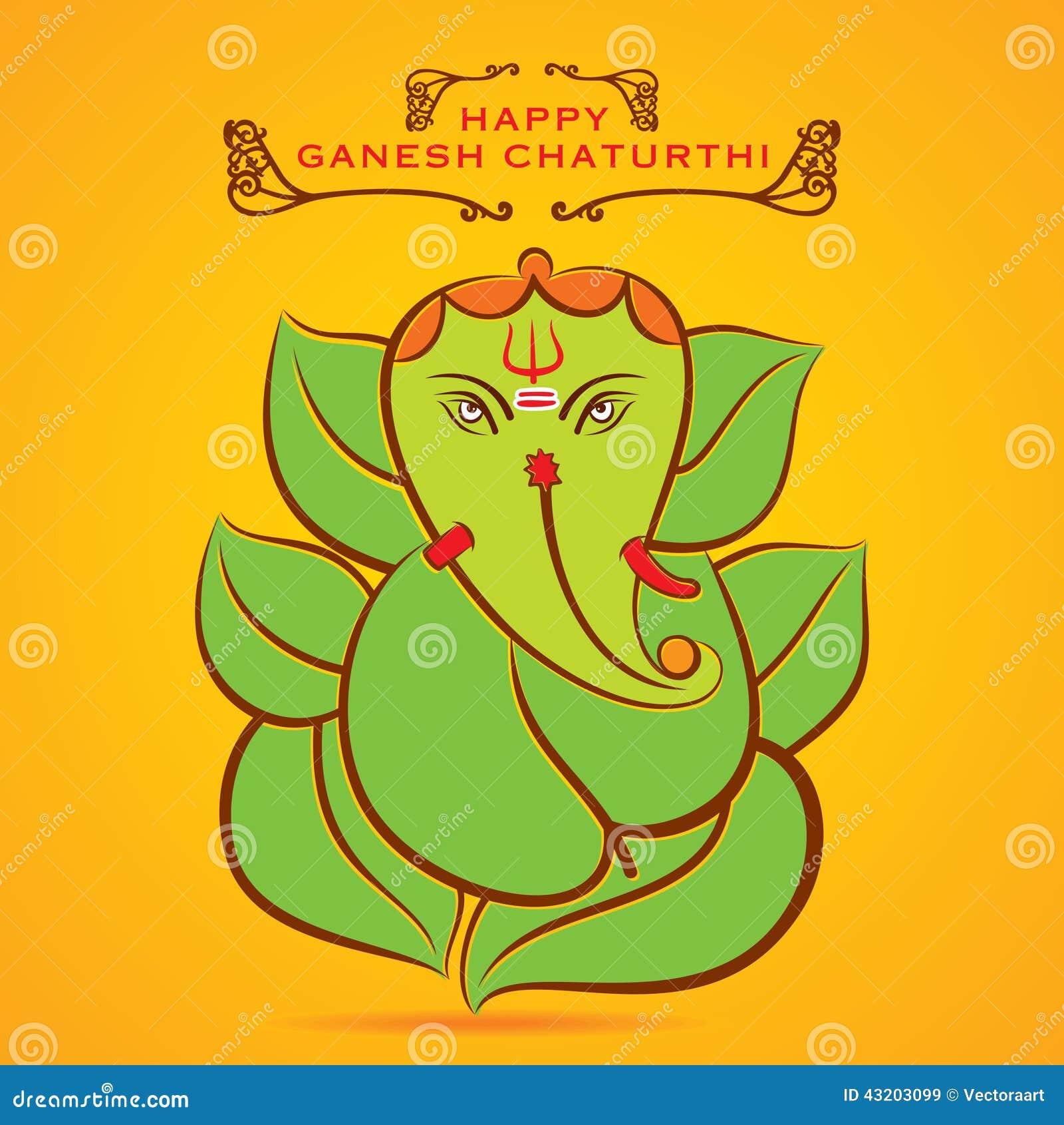 Download Den Lyckliga Ganeshchaturthien Skissar Hälsningkortdesign Vektor Illustrationer - Illustration av design, calligraphic: 43203099