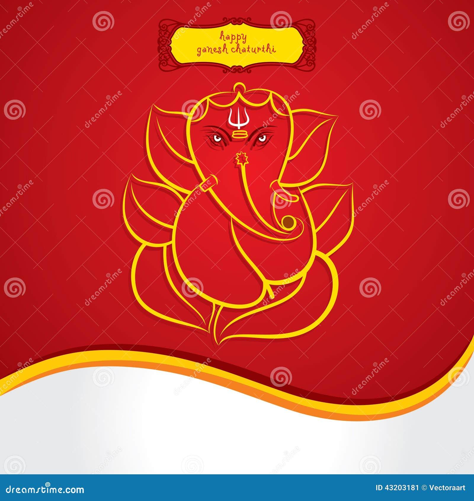 Download Den Lyckliga Ganeshchaturthien Skissar Hälsningkortdesign Vektor Illustrationer - Illustration av garnering, hinduism: 43203181