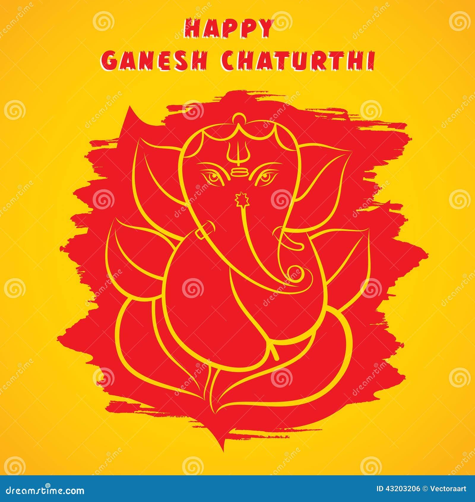 Download Den Lyckliga Ganeshchaturthien Skissar Hälsningkortdesign Vektor Illustrationer - Illustration av redigerbart, mythology: 43203206