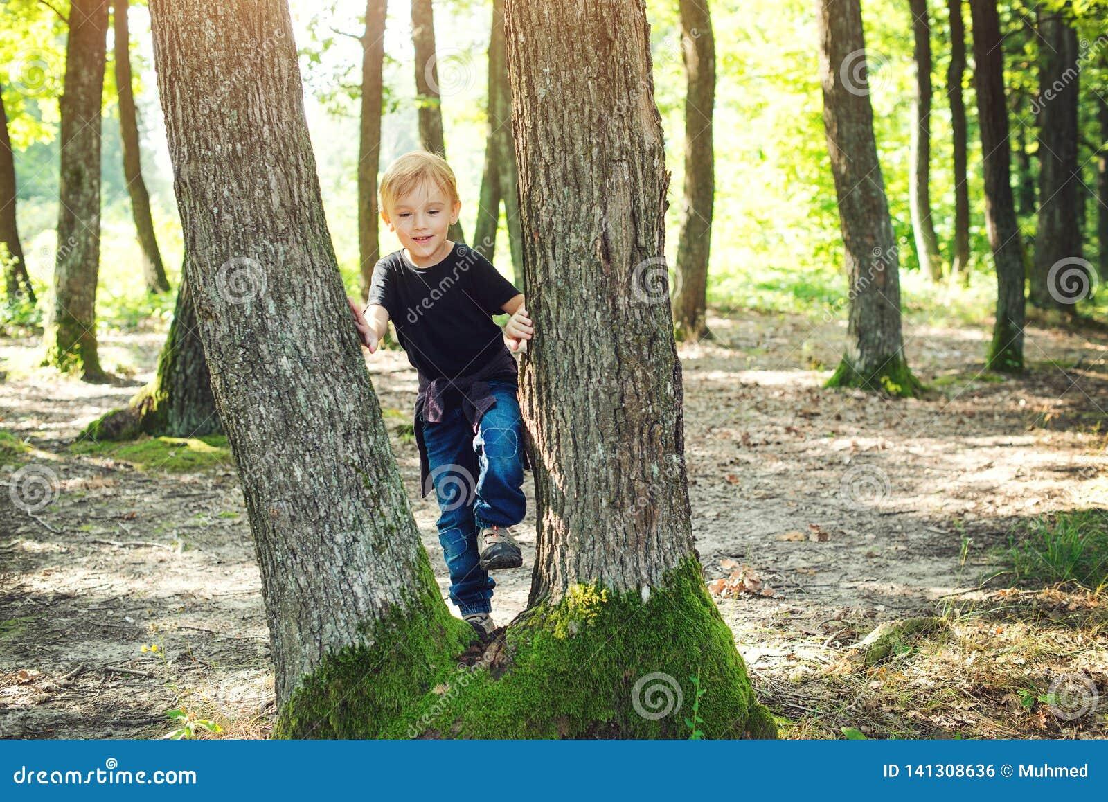 Den lyckliga pysen på det glade barnet för skogen som spelar på, parkerar på den soliga dagen Familjen går på den lösa naturen So