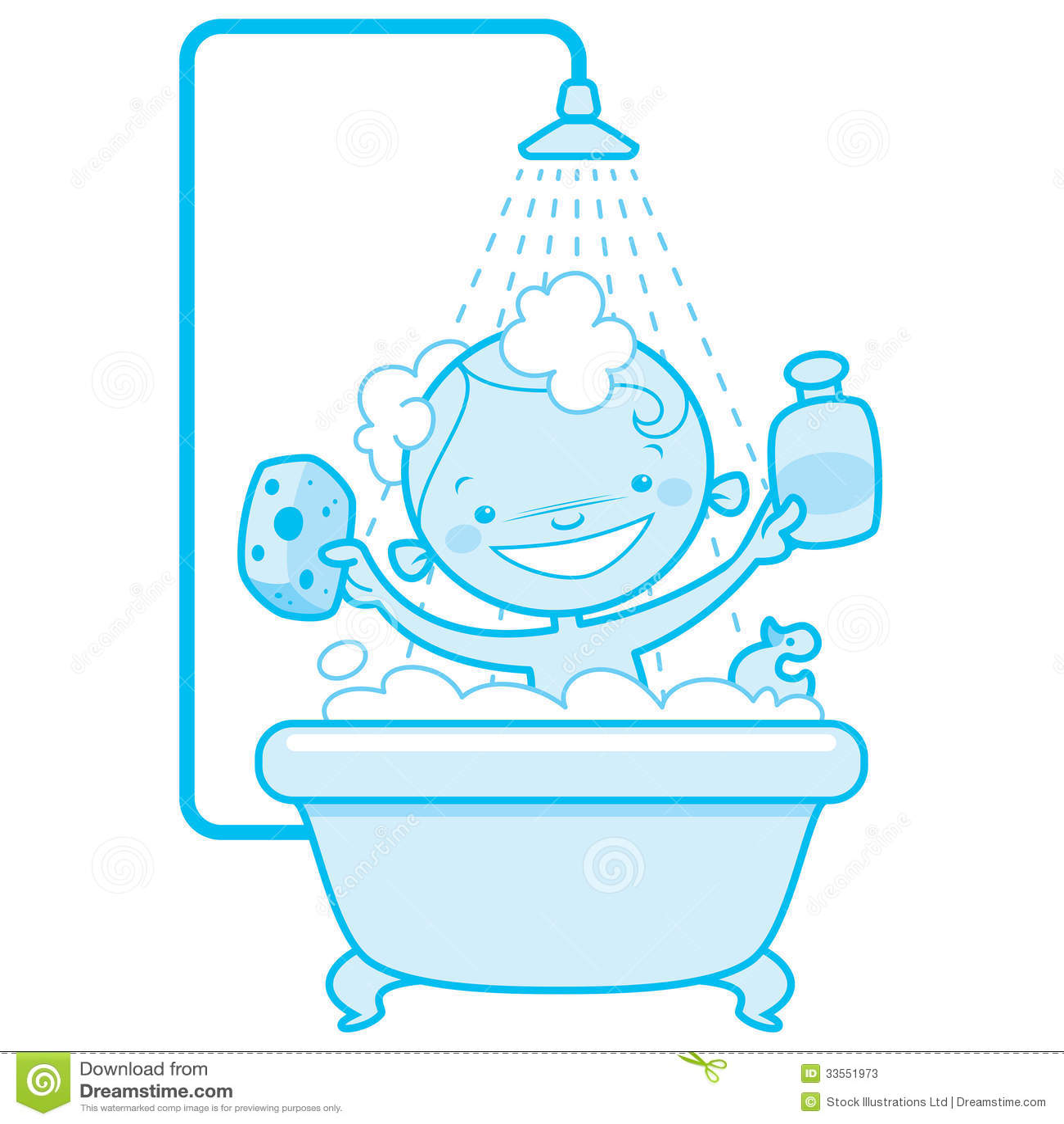 Bath Shower Stall Den Lyckliga Tecknade Filmen Behandla Som Ett Barn Ungen I