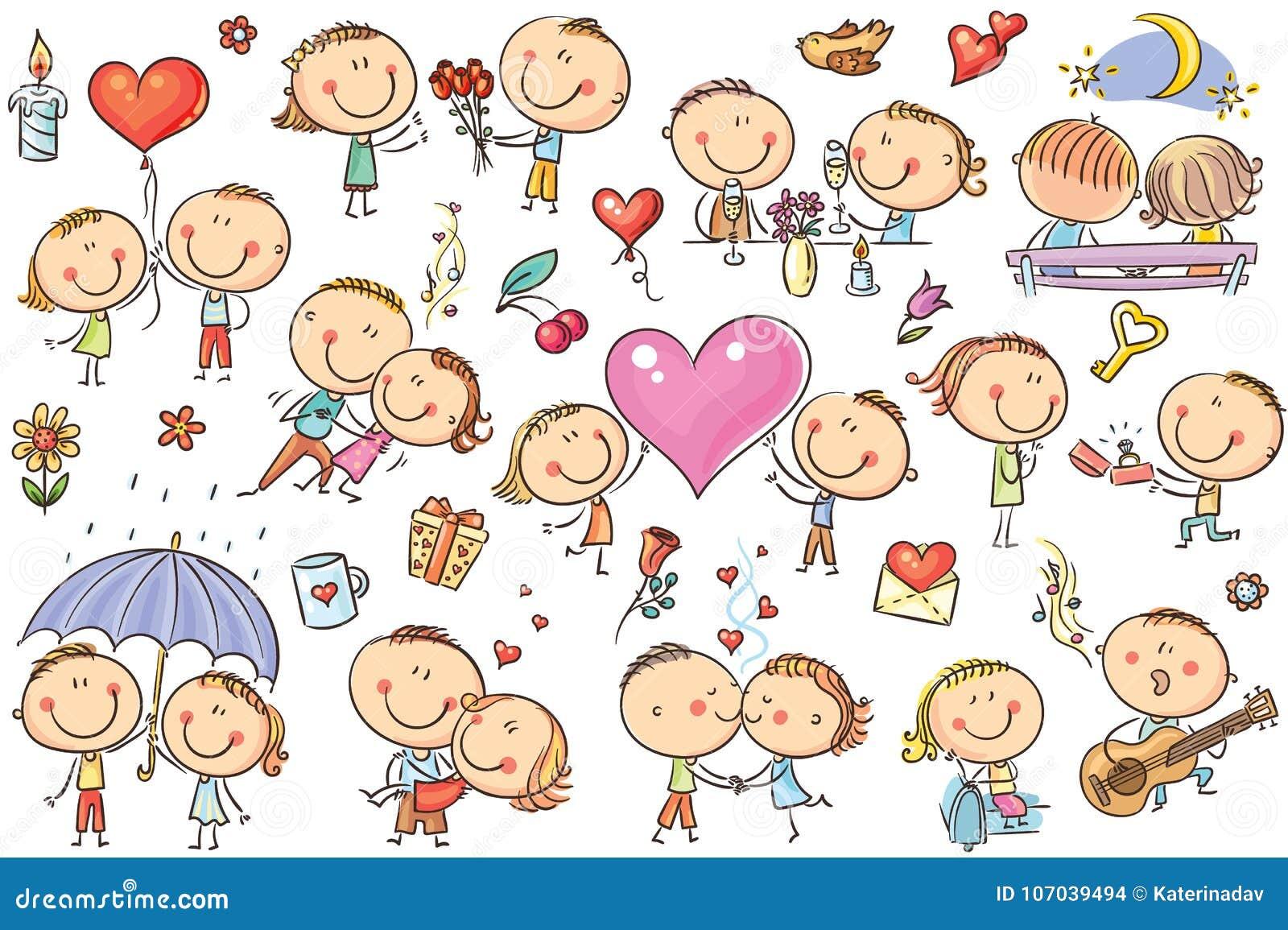 Den lyckliga tecknade filmen kopplar ihop förälskat, uppsättning för dag för valentin` s