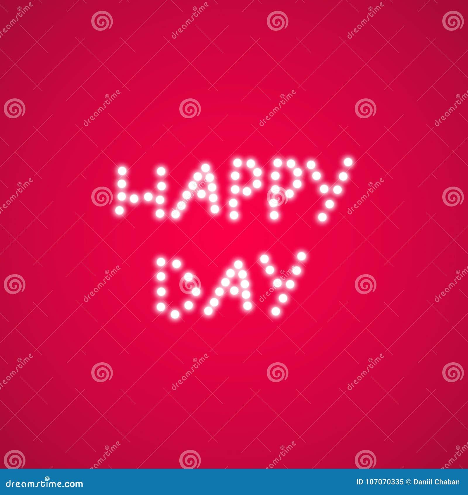Den lyckliga valentindagen för lampor på en rosa bakgrund tillgänglig vektor för valentiner för kortdagmapp Hjärta med inskriften